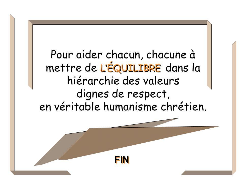 Pour aider chacun, chacune à mettre de dans la hiérarchie des valeurs dignes de respect, en véritable humanisme chrétien.