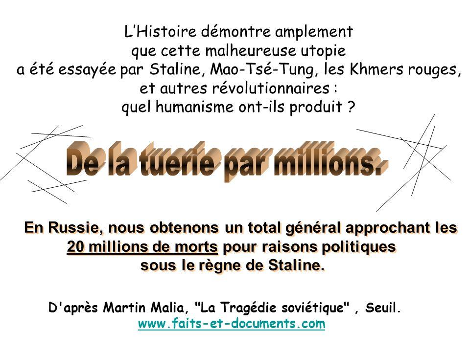 LHistoire démontre amplement que cette malheureuse utopie a été essayée par Staline, Mao-Tsé-Tung, les Khmers rouges, et autres révolutionnaires : quel humanisme ont-ils produit .