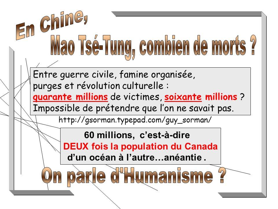 http://gsorman.typepad.com/guy_sorman/ Entre guerre civile, famine organisée, purges et révolution culturelle : quarante millions de victimes, soixante millions .