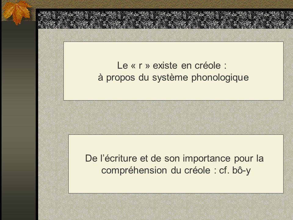 La détermination nominale en créole Lindéfini : an en martiniquais : an grin Le défini : -la/-a/-lan/-an : liv-la/dlo-a/ fanm-lan/pon-an Le démonstratif : -tala : liv-tala Le possessif : -moin ; vou/-ou ; -li/y ; -nou ; -zôt ; -yo/ liv-moin / chivé-y / parapli-nou…