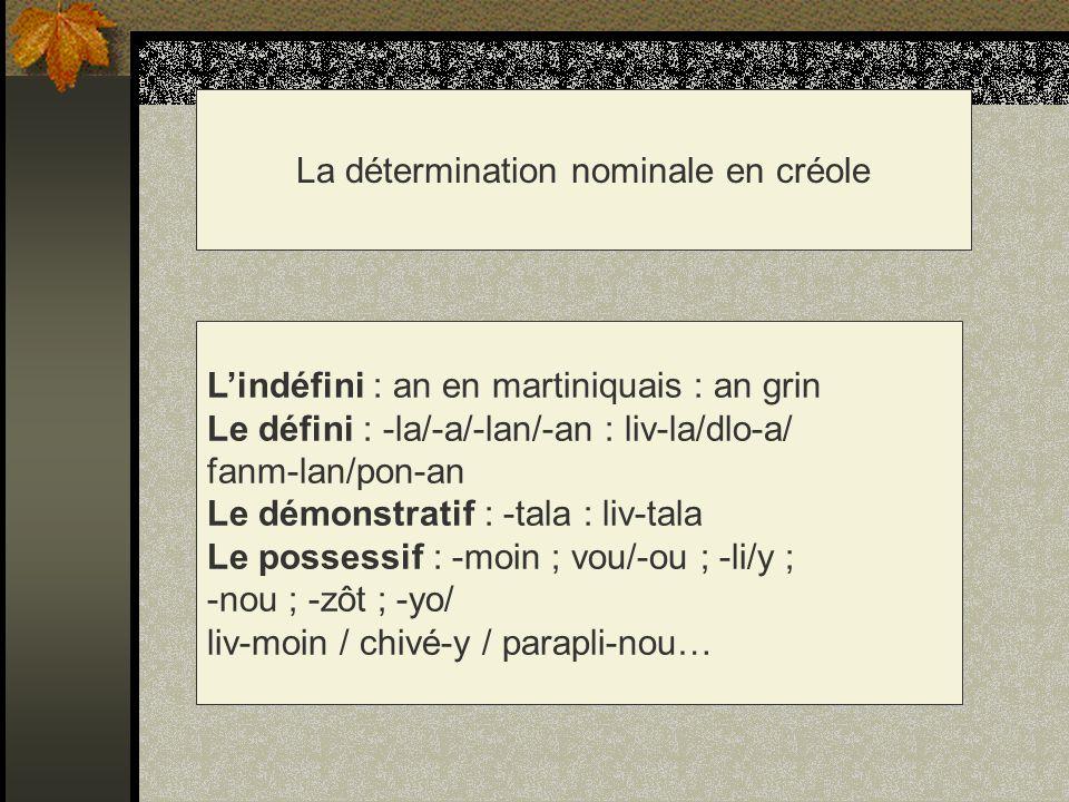 La détermination nominale en créole Lindéfini : an en martiniquais : an grin Le défini : -la/-a/-lan/-an : liv-la/dlo-a/ fanm-lan/pon-an Le démonstrat