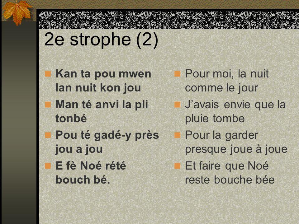 Les pronoms personnels en créole Moin, man = 1e personne Vou, ou, w = 2e personne Li, i, y = 3e personne Nou = 4e personne Zôt = 5e personne Yo = 6e personne