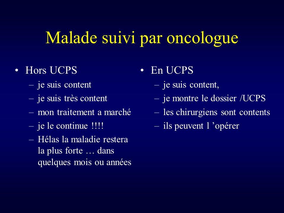 Malade suivi par oncologue Hors UCPS –je suis content –je suis très content –mon traitement a marché –je le continue !!!.
