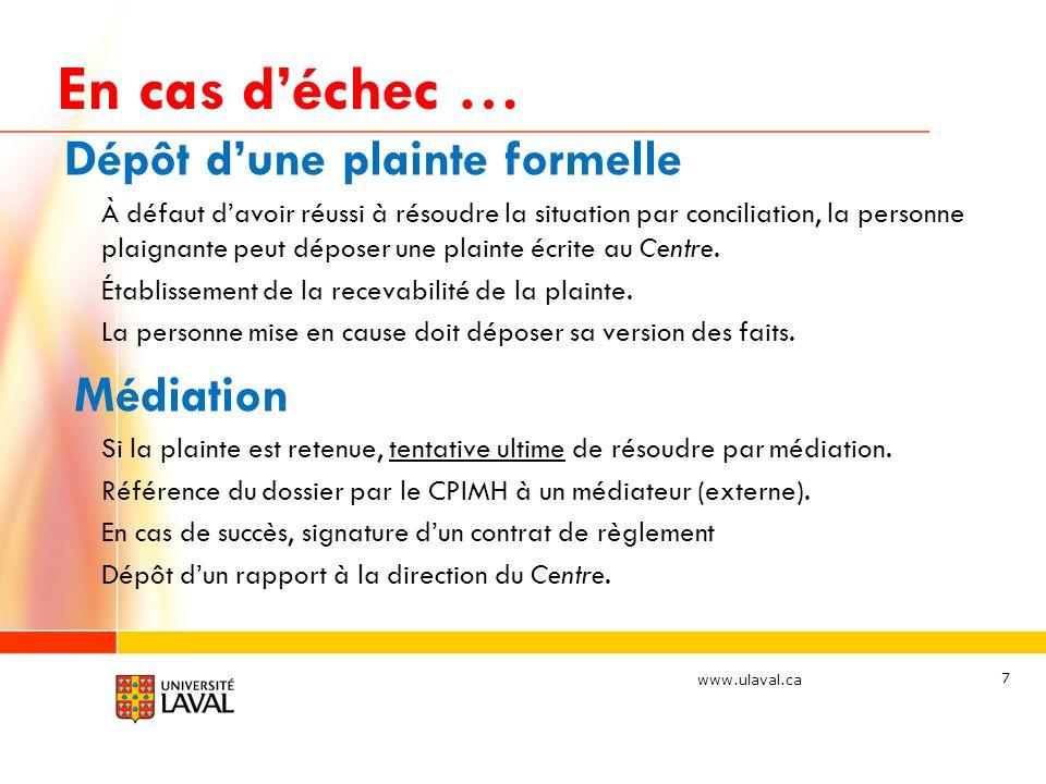 www.ulaval.ca En cas déchec … (suite) Si la médiation échoue ou est impossible: Préparation dun résumé du dossier par le Direction du CPIMH incluant les recommandations pertinentes et acheminement du dossier au Vice-recteur responsable.