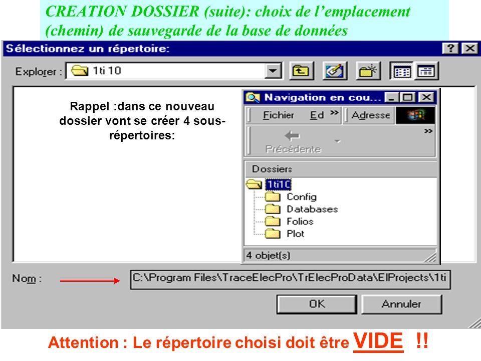 DOSSIER (suite) : CREATION DOSSIER (réservé aux étudiants confirmés) et choix du répertoire de sauvegarde.