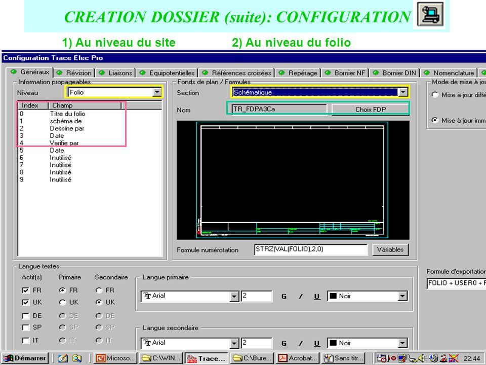 CREATION DOSSIER (suite): choix de lemplacement (chemin) de sauvegarde de la base de données Attention : Le répertoire choisi doit être VIDE !.