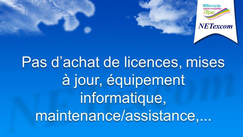 Pas dachat de licences, mises à jour, équipement informatique, maintenance/assistance,...