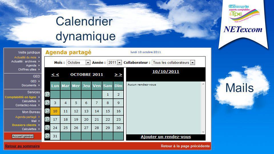 Calendrier dynamique Mails
