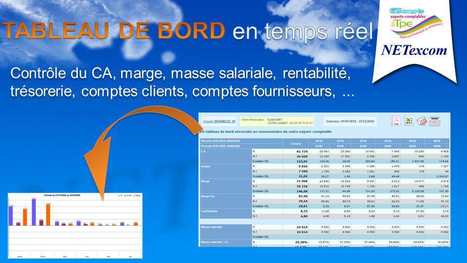 Contrôle du CA, marge, masse salariale, rentabilité, trésorerie, comptes clients, comptes fournisseurs,...