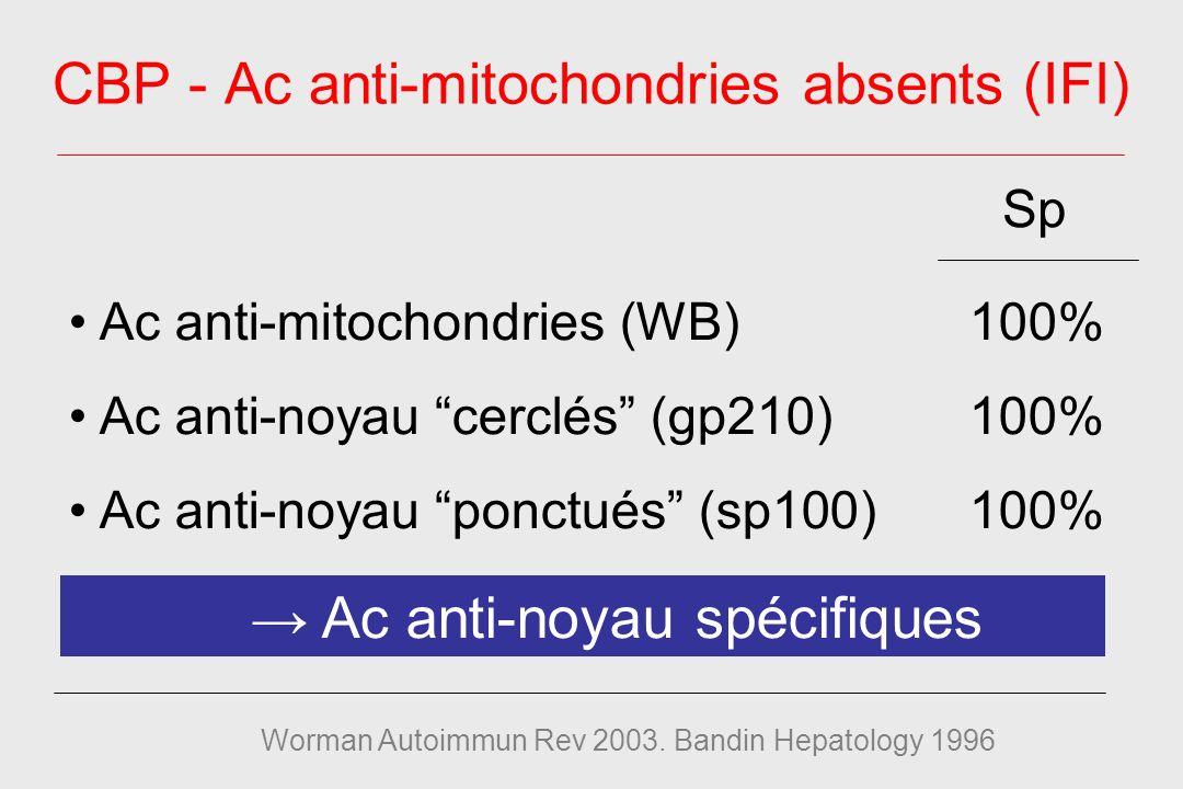 Ac anti-mitochondries (WB)100% Ac anti-noyau cerclés (gp210)100% Ac anti-noyau ponctués (sp100)100% Ac anti-noyau spécifiques CBP - Ac anti-mitochondries absents (IFI) Worman Autoimmun Rev 2003.