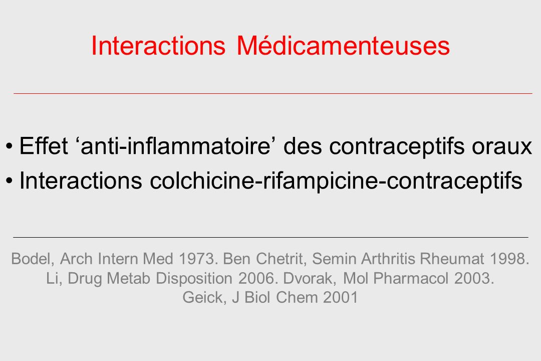 Interactions Médicamenteuses Effet anti-inflammatoire des contraceptifs oraux Interactions colchicine-rifampicine-contraceptifs Bodel, Arch Intern Med 1973.