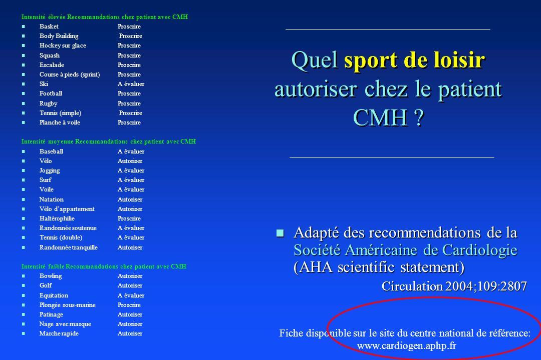 Quel sport de loisir autoriser chez le patient CMH ? n Adapté des recommendations de la Société Américaine de Cardiologie (AHA scientific statement) C