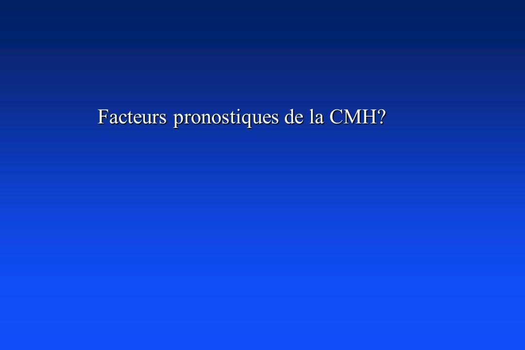 Facteurs pronostiques de la CMH? Facteurs pronostiques de la CMH?