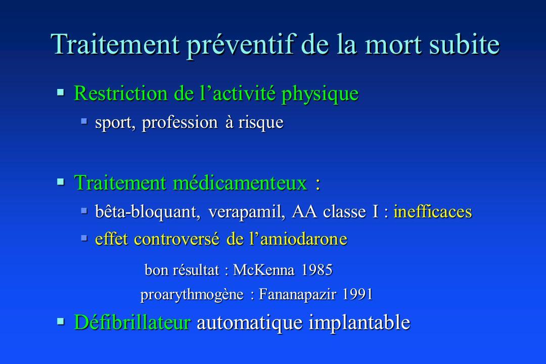 Traitement préventif de la mort subite Restriction de lactivité physique Restriction de lactivité physique sport, profession à risque sport, professio