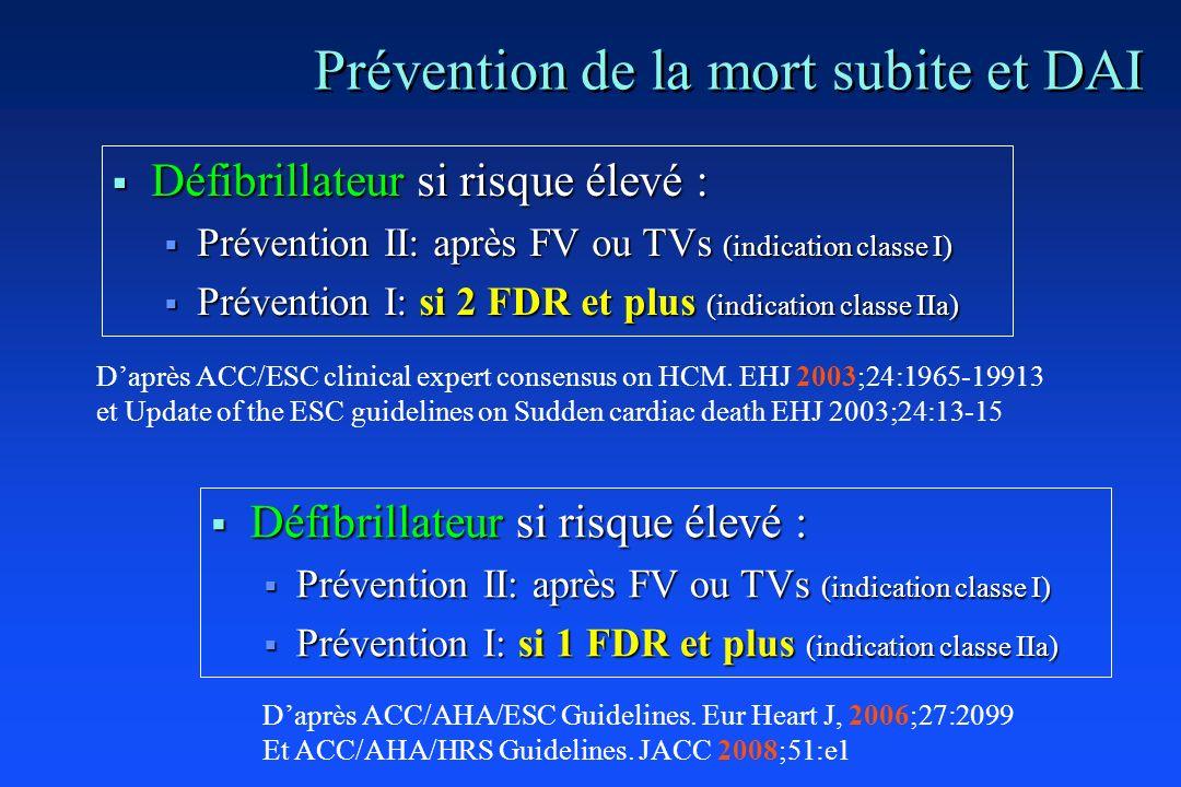Prévention de la mort subite et DAI Défibrillateur si risque élevé : Défibrillateur si risque élevé : Prévention II: après FV ou TVs (indication class