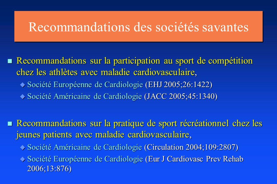 Recommandations des sociétés savantes n Recommandations sur la participation au sport de compétition chez les athlètes avec maladie cardiovasculaire,