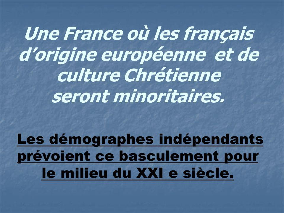 Une France où les français dorigine européenne et de culture Chrétienne seront minoritaires.