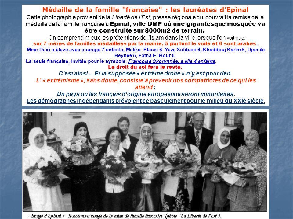 Médaille de la famille française : les lauréates d Epinal Cette photographie provient de la Liberté de lEst, presse régionale qui couvrait la remise de la médaille de la famille française à Epinal, ville UMP où une gigantesque mosquée va être construite sur 8000m2 de terrain.