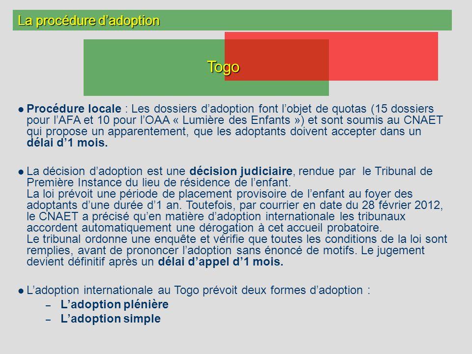 La procédure dadoption Procédure locale : Les dossiers dadoption font lobjet de quotas (15 dossiers pour lAFA et 10 pour lOAA « Lumière des Enfants »)