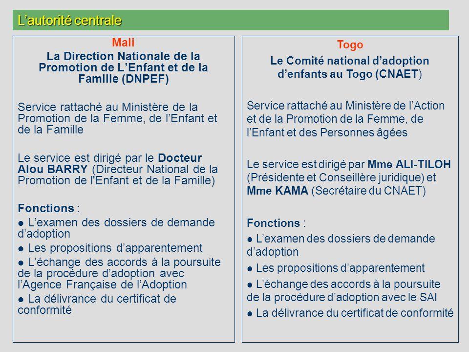 Mali La Direction Nationale de la Promotion de LEnfant et de la Famille (DNPEF) Service rattaché au Ministère de la Promotion de la Femme, de lEnfant