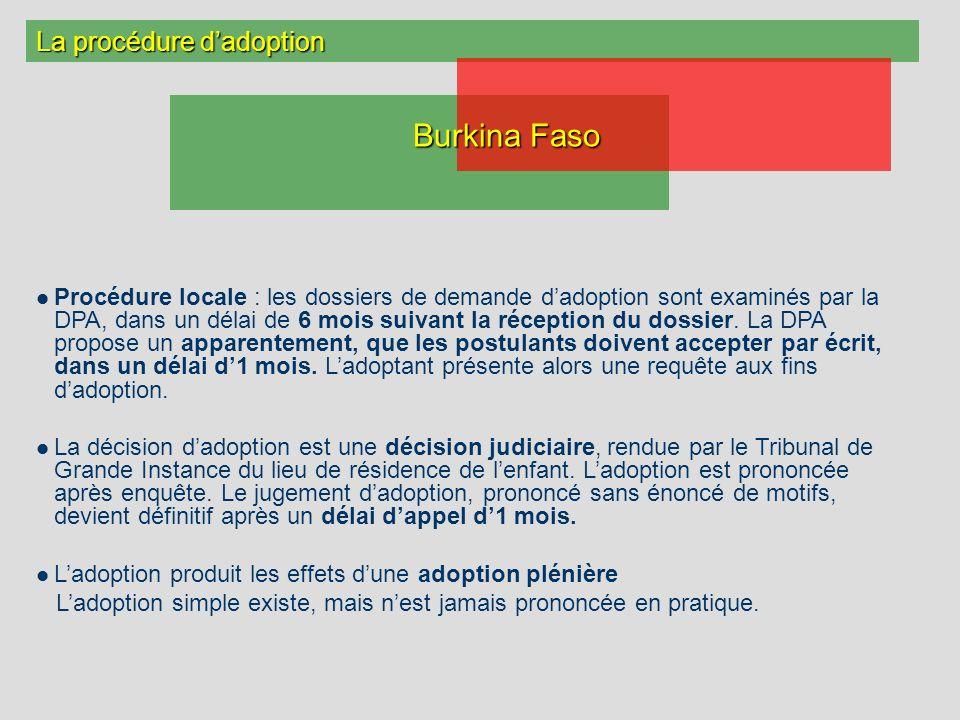 La procédure dadoption Procédure locale : les dossiers de demande dadoption sont examinés par la DPA, dans un délai de 6 mois suivant la réception du