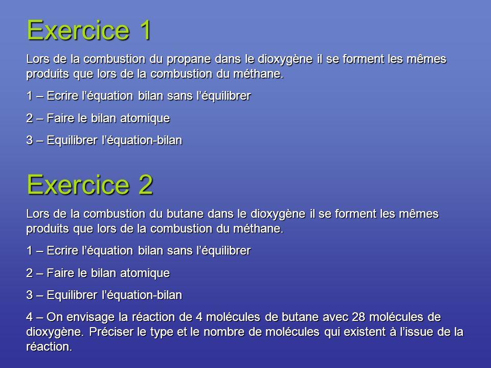 Exercice 3 Pour préparer le dihydrogène dans lindustrie, on utilise parfois le méthane.