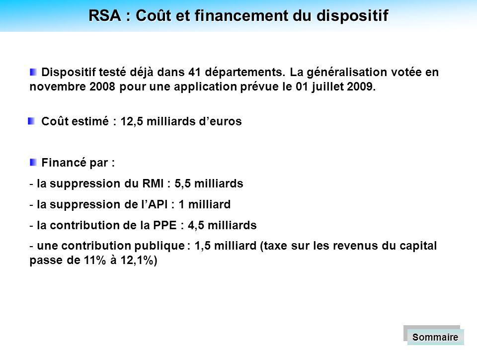 RSA : Coût et financement du dispositif Coût estimé : 12,5 milliards deuros Sommaire Financé par : - - la suppression du RMI : 5,5 milliards - - la suppression de lAPI : 1 milliard - - la contribution de la PPE : 4,5 milliards - - une contribution publique : 1,5 milliard (taxe sur les revenus du capital passe de 11% à 12,1%) Dispositif testé déjà dans 41 départements.