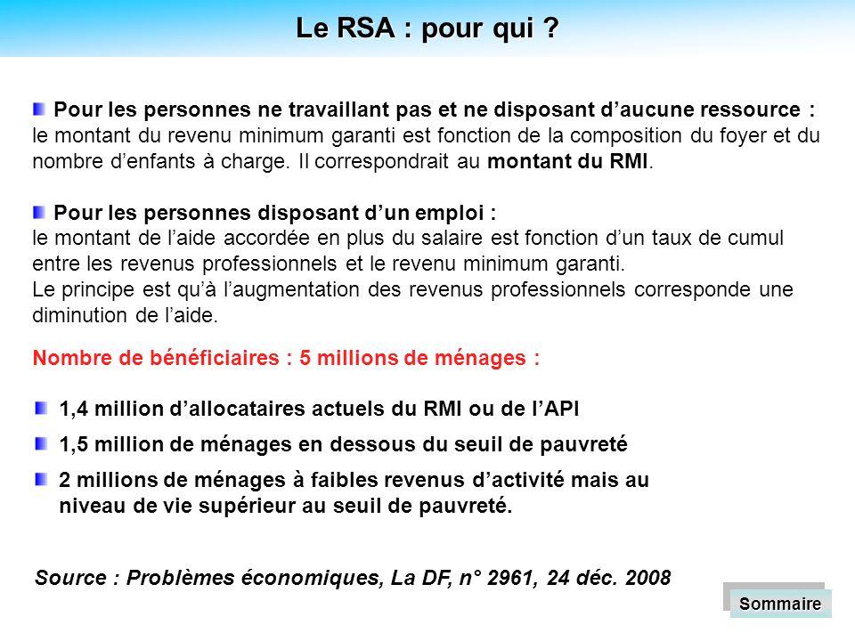 Le RSA : pour qui .