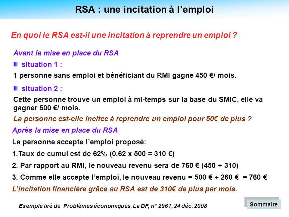RSA : une incitation à lemploi situation 1 : 1 personne sans emploi et bénéficiant du RMI gagne 450 / mois.