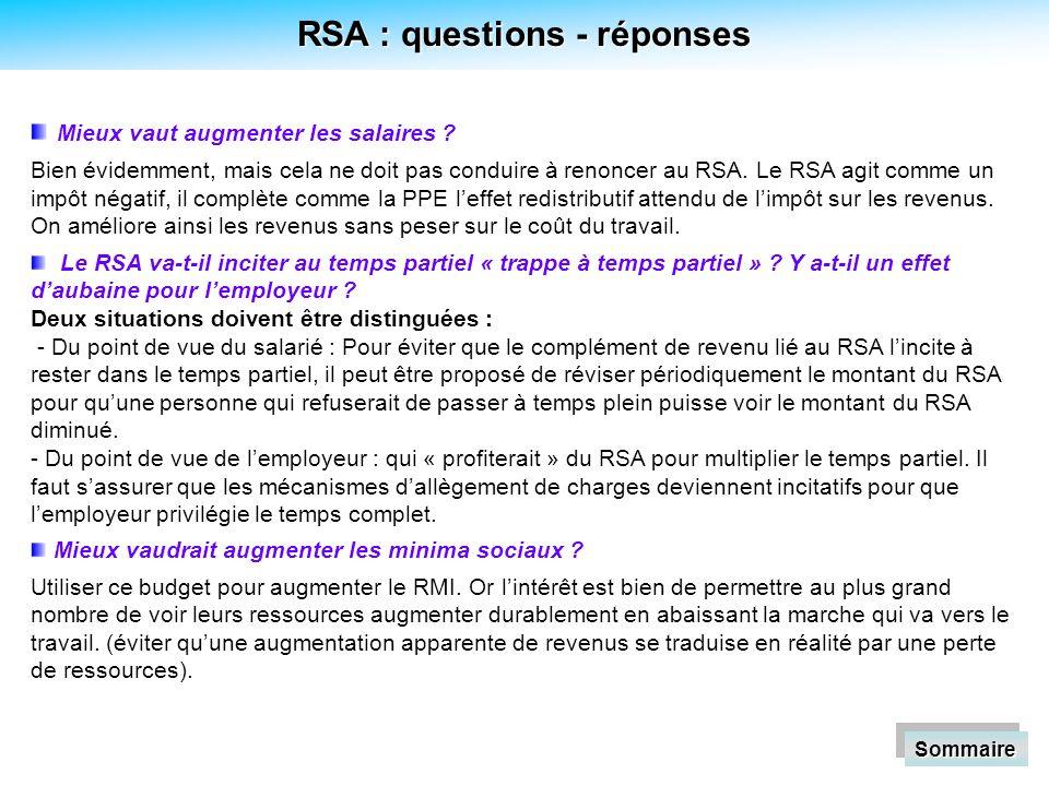 RSA : questions - réponses Mieux vaut augmenter les salaires .