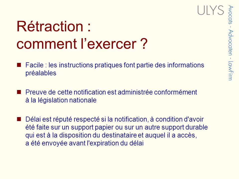 Rétraction : comment lexercer .
