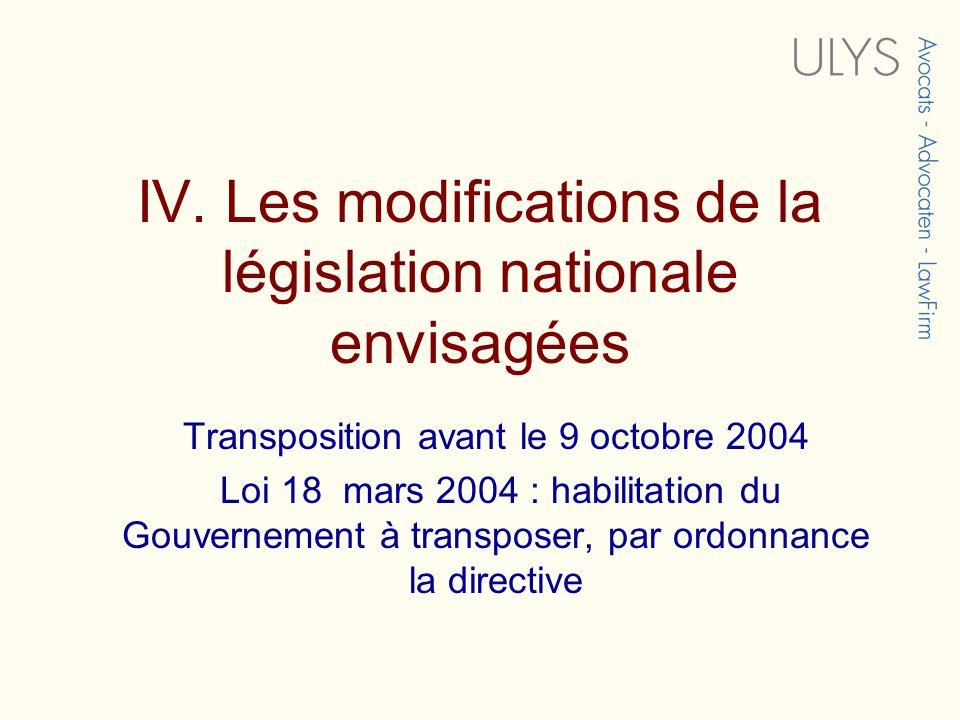 IV. Les modifications de la législation nationale envisagées Transposition avant le 9 octobre 2004 Loi 18 mars 2004 : habilitation du Gouvernement à t