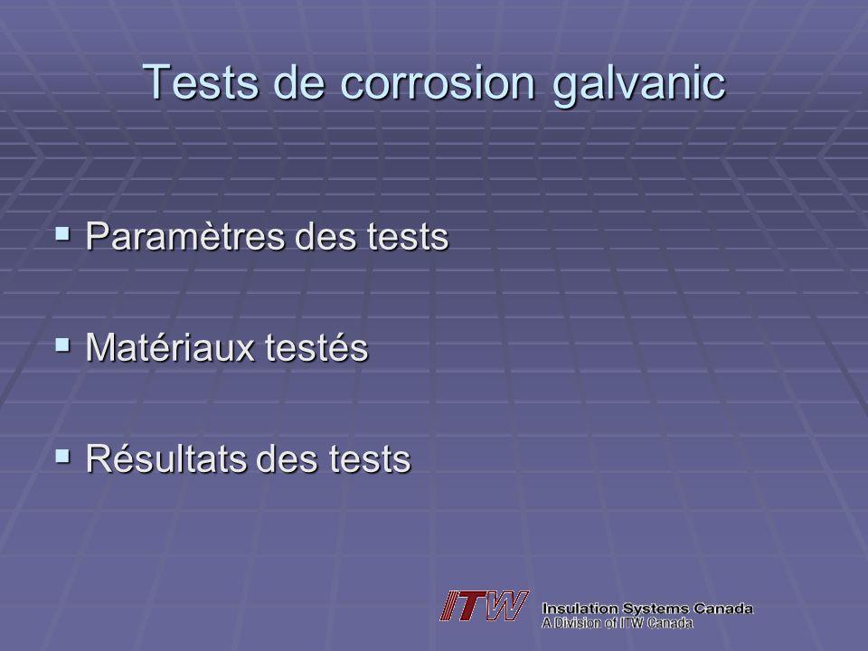 Tests de corrosion galvanic Paramètres des tests Paramètres des tests Matériaux testés Matériaux testés Résultats des tests Résultats des tests