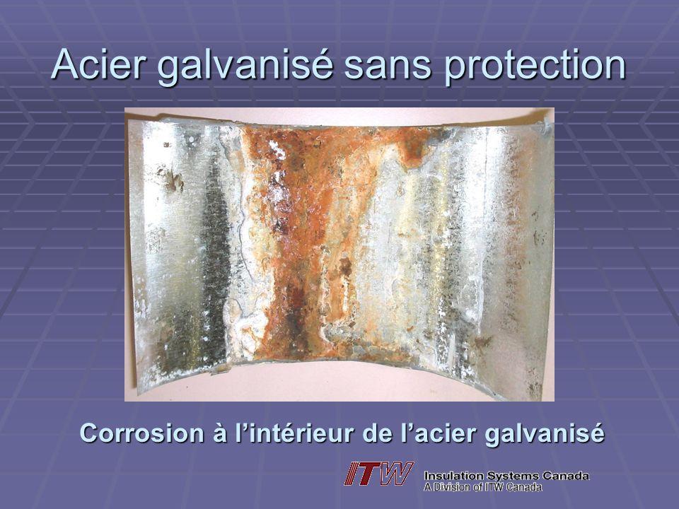 Acier galvanisé sans protection Corrosion à lintérieur de lacier galvanisé