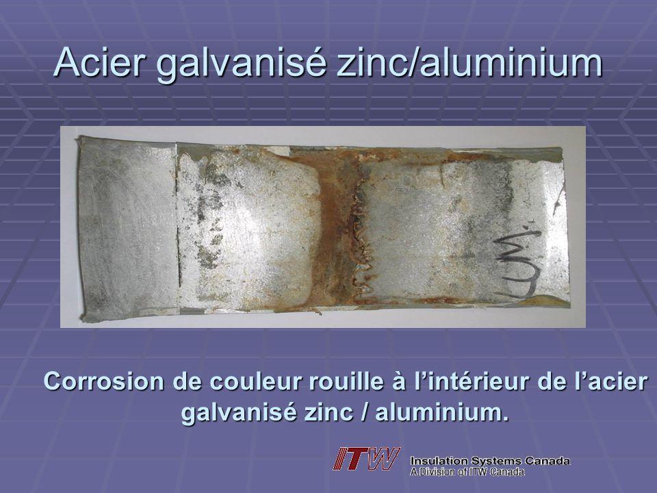 Acier galvanisé zinc/aluminium Corrosion de couleur rouille à lintérieur de lacier galvanisé zinc / aluminium.