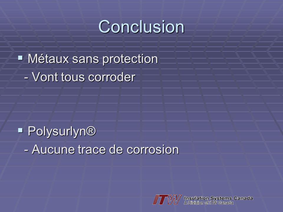 Conclusion Métaux sans protection Métaux sans protection - Vont tous corroder - Vont tous corroder Polysurlyn® Polysurlyn® - Aucune trace de corrosion - Aucune trace de corrosion