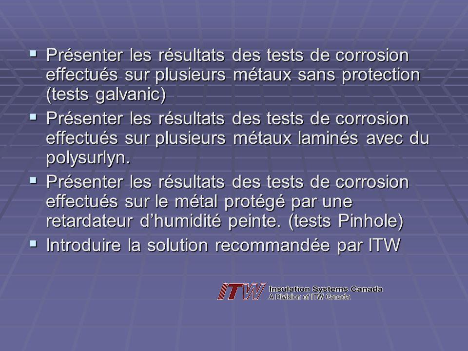 Présenter les résultats des tests de corrosion effectués sur plusieurs métaux sans protection (tests galvanic) Présenter les résultats des tests de co