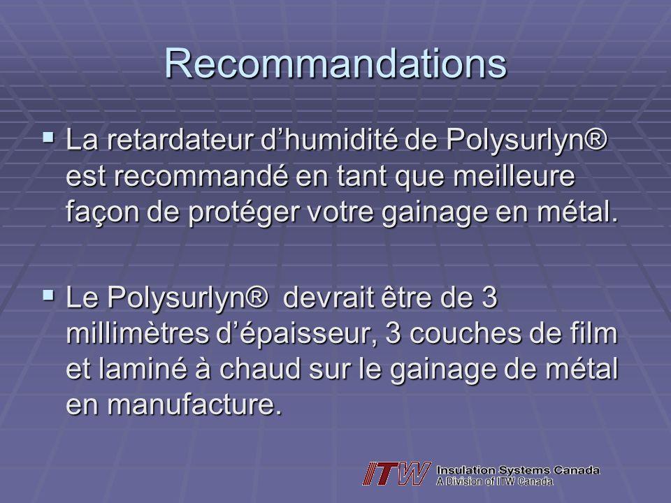 Recommandations La retardateur dhumidité de Polysurlyn® est recommandé en tant que meilleure façon de protéger votre gainage en métal.