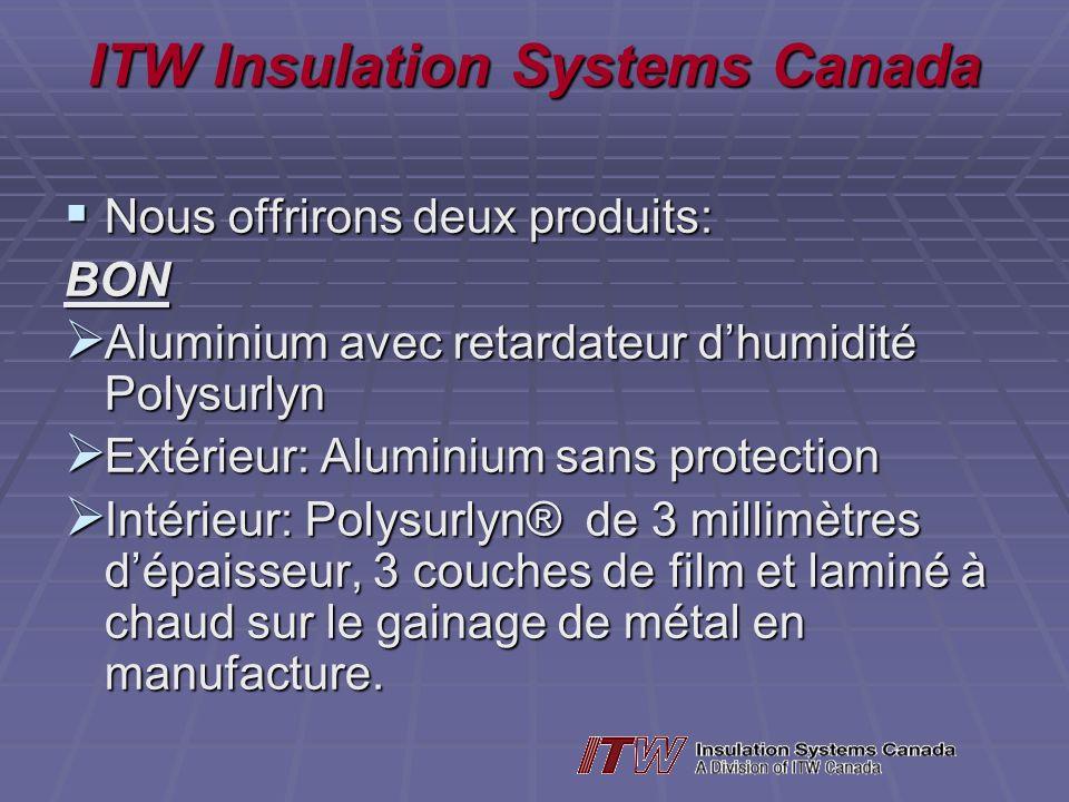 ITW Insulation Systems Canada Nous offrirons deux produits: Nous offrirons deux produits:BON Aluminium avec retardateur dhumidité Polysurlyn Aluminium