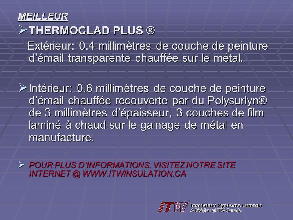 MEILLEUR THERMOCLAD PLUS ® THERMOCLAD PLUS ® Extérieur: 0.4 millimètres de couche de peinture démail transparente chauffée sur le métal. Extérieur: 0.