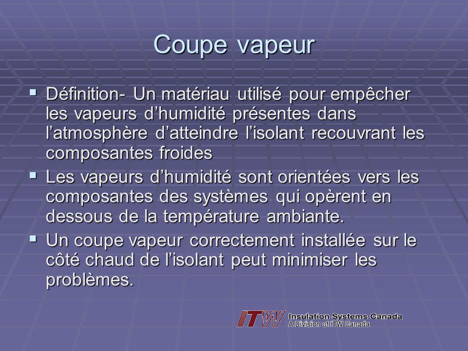 Coupe vapeur Définition- Un matériau utilisé pour empêcher les vapeurs dhumidité présentes dans latmosphère datteindre lisolant recouvrant les composa
