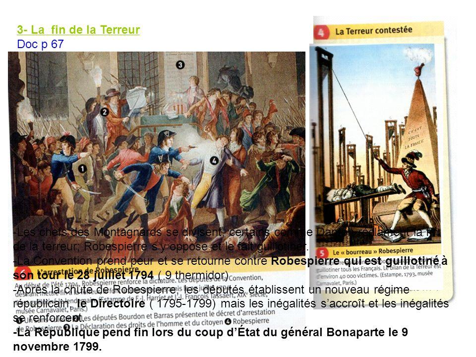 3- La fin de la Terreur Doc p 67 Au printemps 1794, la République est sauvée : - à lextérieur, les armées françaises ont repoussé la menace étrangère - à lintérieur, les révoltes royalistes et fédéralistes sont matés.