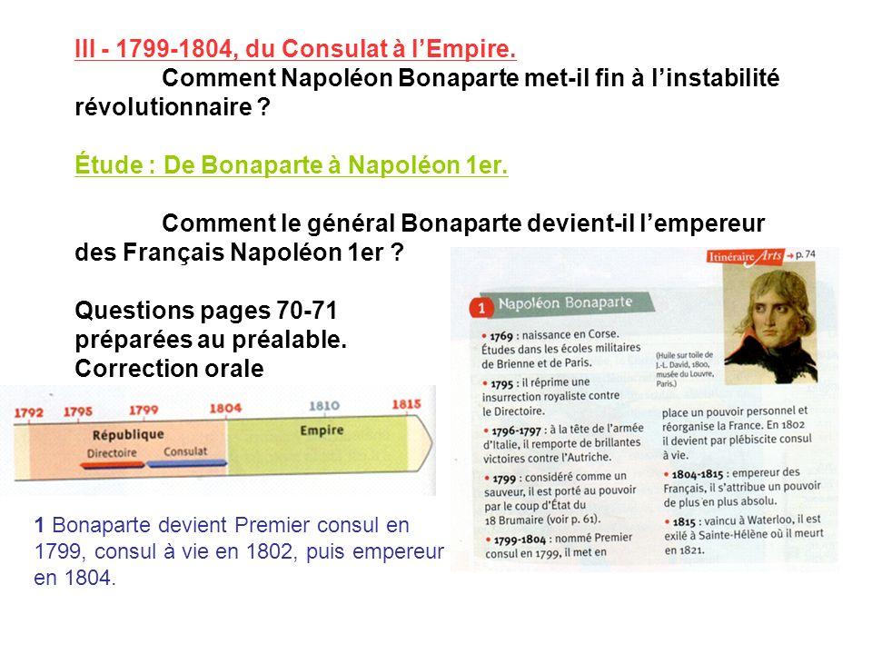 III - 1799-1804, du Consulat à lEmpire. Comment Napoléon Bonaparte met-il fin à linstabilité révolutionnaire ? Étude : De Bonaparte à Napoléon 1er. Co