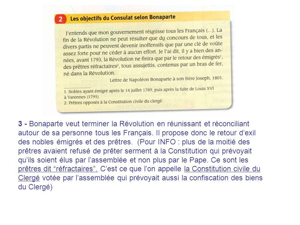 3 - Bonaparte veut terminer la Révolution en réunissant et réconciliant autour de sa personne tous les Français. Il propose donc le retour dexil des n