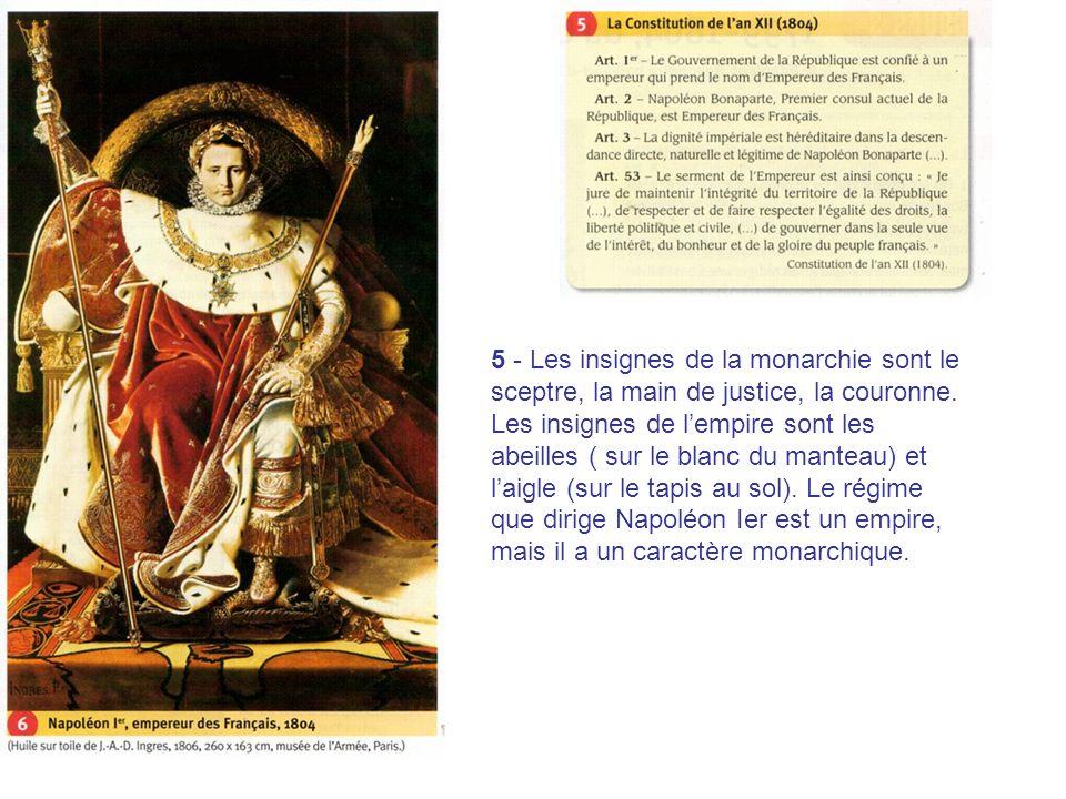 5 - Les insignes de la monarchie sont le sceptre, la main de justice, la couronne. Les insignes de lempire sont les abeilles ( sur le blanc du manteau