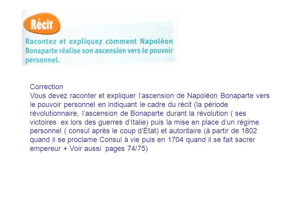 Correction Vous devez raconter et expliquer lascension de Napoléon Bonaparte vers le pouvoir personnel en indiquant le cadre du récit (la période révo
