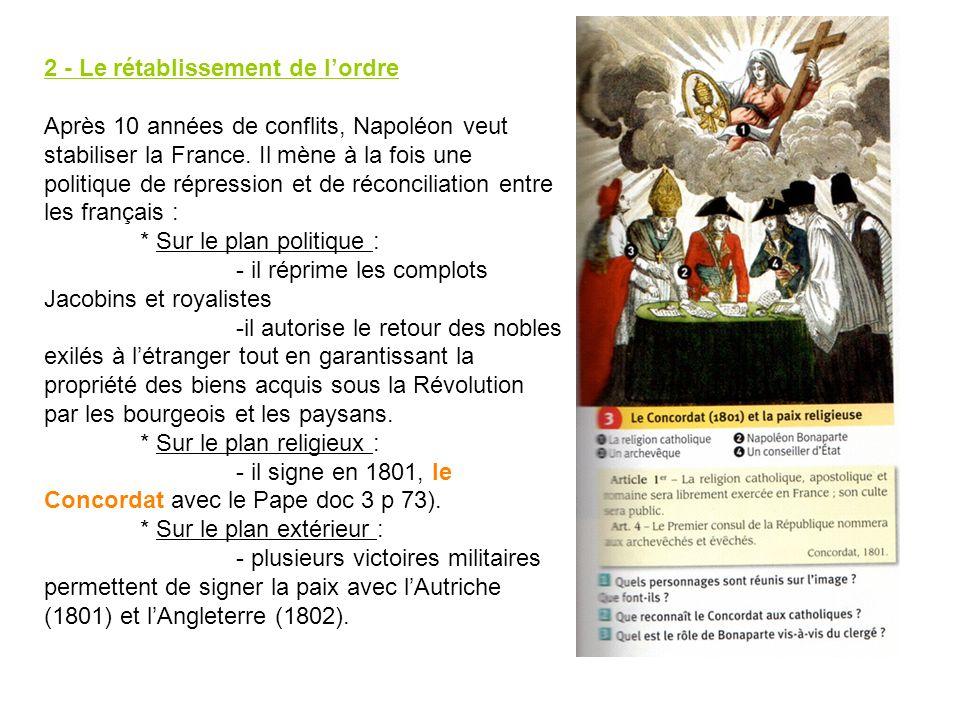 2 - Le rétablissement de lordre Après 10 années de conflits, Napoléon veut stabiliser la France. Il mène à la fois une politique de répression et de r