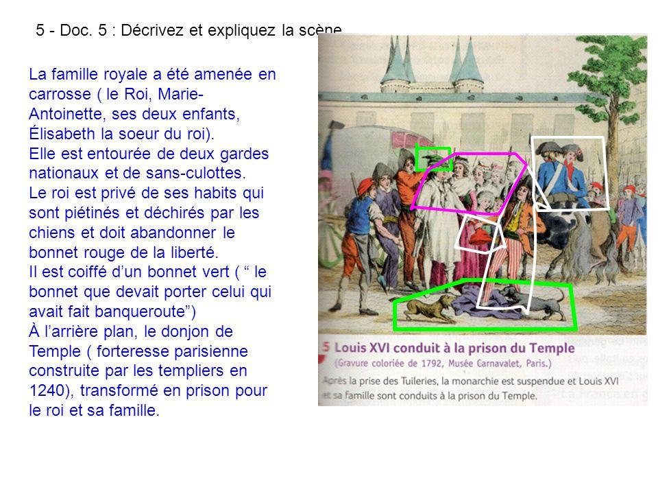 5 - Doc. 5 : Décrivez et expliquez la scène. La famille royale a été amenée en carrosse ( le Roi, Marie- Antoinette, ses deux enfants, Élisabeth la so