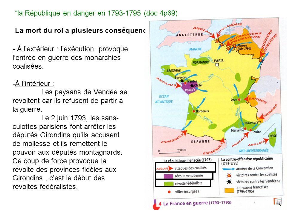 la République en danger en 1793-1795 (doc 4p69) La mort du roi a plusieurs conséquences : - À lextérieur : lexécution provoque lentrée en guerre des monarchies coalisées.