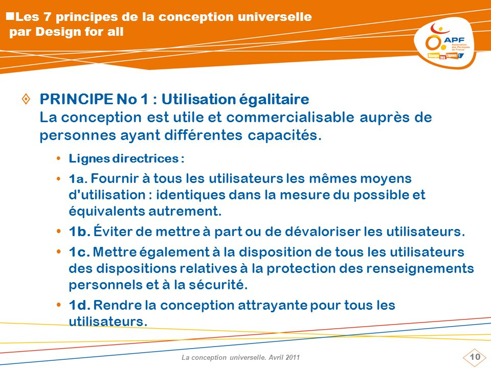 10 La conception universelle.